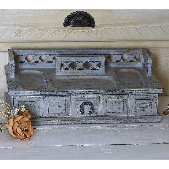 Boîte à bijoux gris Shabby Chic pour hommes, coffre à bijoux vintage en bois peint à la main, peinture à la craie gris et charcoal