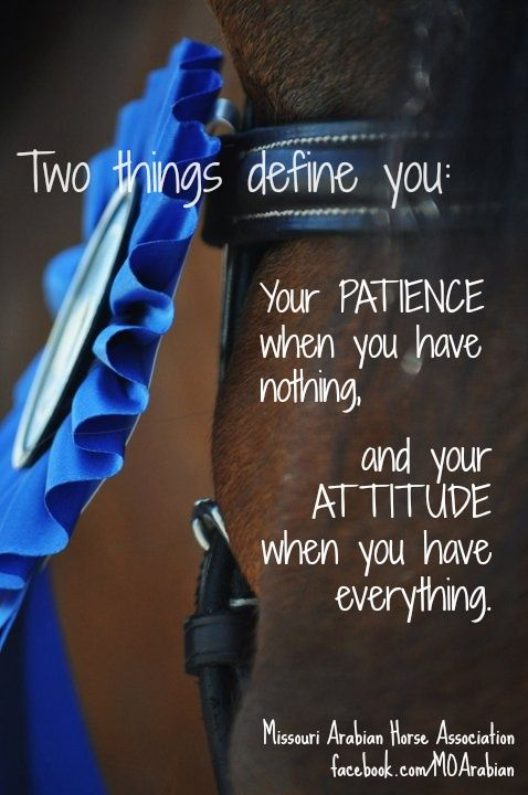 Patience and Attitude, they define you, and when in that arena, both better be positive…
