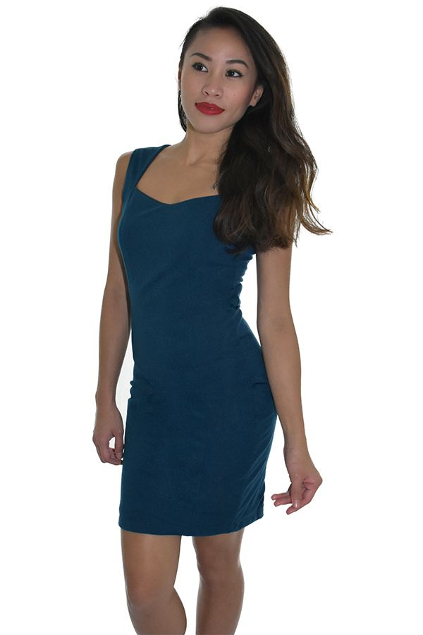 PSL Peep Hole Bodycon Dress in Teal