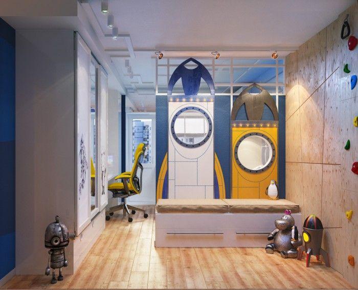 Idees De Cuisine Moderne Pour Les Petits Espaces : chambre pour garçon sur le thème espace garçon sur pour garçon