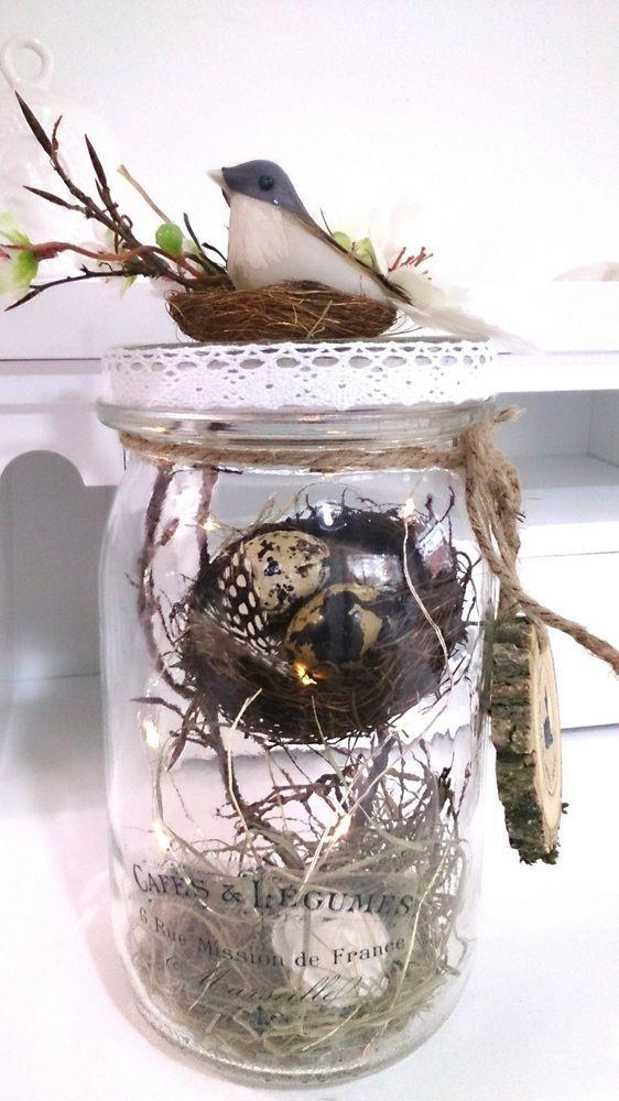 Details zu Tischdeko Weckglas Ostern Frühling neu Frühlingsdeko Osterdeko Shabby LED