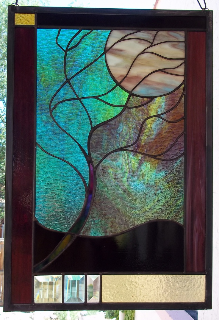 164 best images about tree stained glass on pinterest for Window panel design