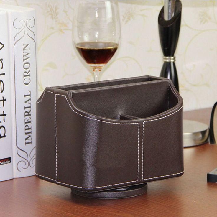 Creatieve telefoon remote pu opslag houder/handgemaakte 360 roterende opbergdoos desktop mode cosmetische opbergdoos zitting