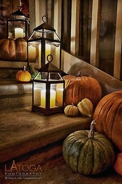 .love the lanterns with candles outside on the steps, or mason jars with candles, or a string of lights wrapped around décor running down steps