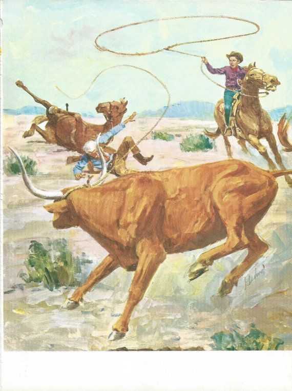 Vintage Animal Print - Cattle Book Plate - Cowboy - Book Print - Vintage Book Illustration - Readers Digest - Animal Story Book - 1970s