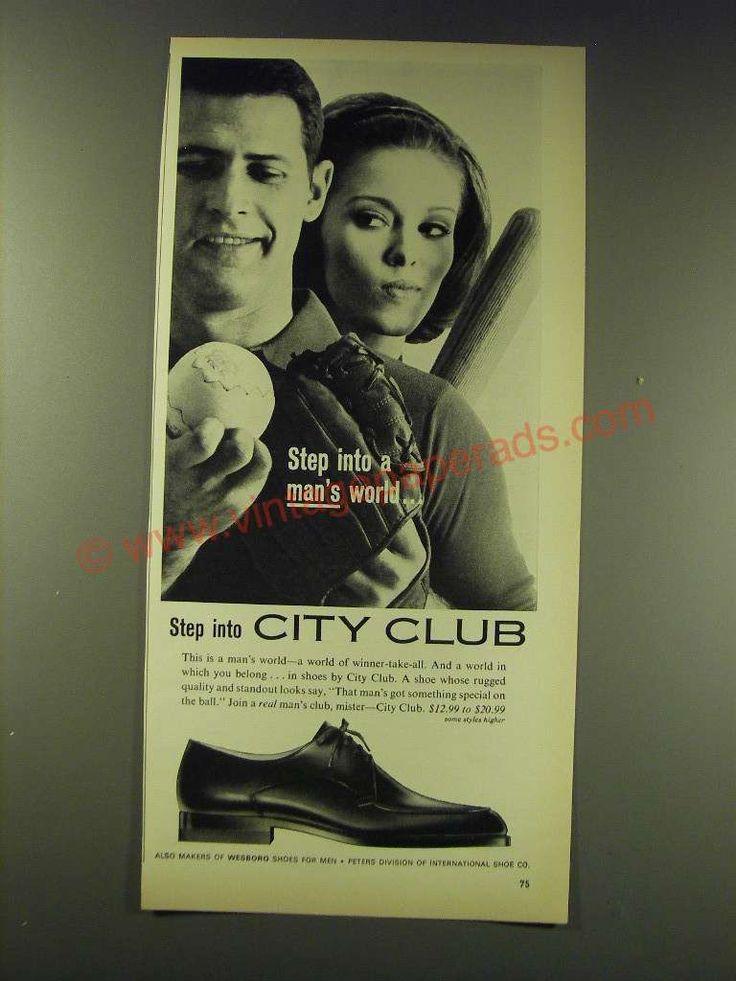 1964 International Shoe City Club Shoes Ad - Step into a man's world