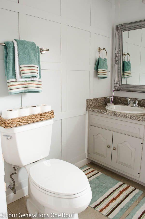 bathroom board and batten wainscoting tutorial gardens. Black Bedroom Furniture Sets. Home Design Ideas
