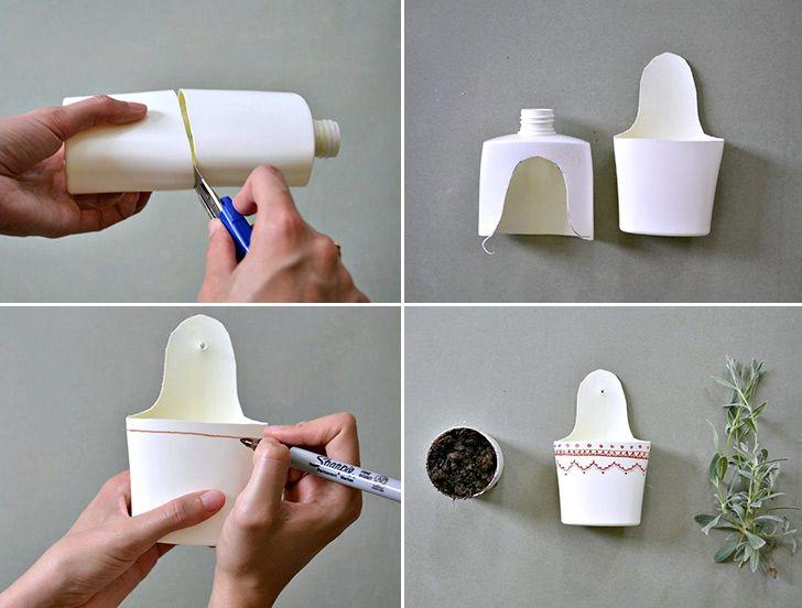 Plastic Bottle Flower Pot - Handimania