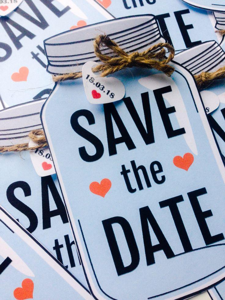 Wedding save the date mason jar twine celebrate engagement