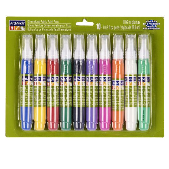 <div>These 3-D fabric paint pens are perfect for personalizing tees, backpacks and more. They ar...