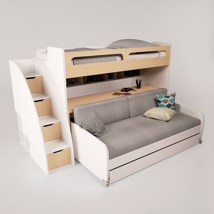 Gautreau Twin Futon Bunk Bed With Bookcase Bunk Bed With Trundle