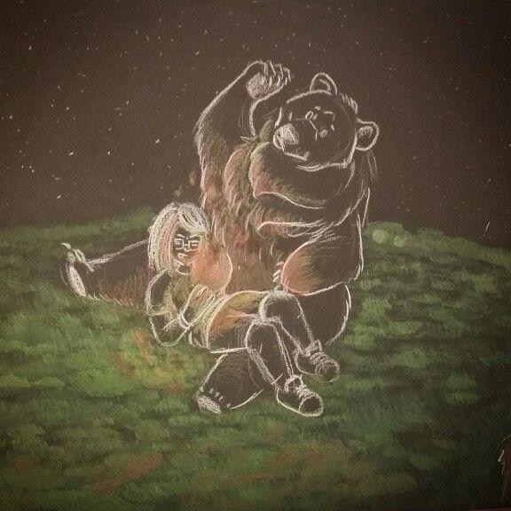 Piccole piromani crescono #fire #bear #drawing #wip #sketch #fuoco #tempere #matite #foglionero #disegno #insanerose #black #red #orso #erba #montagna #brown #bigbear #me #myself #piromani #crescono #star #night