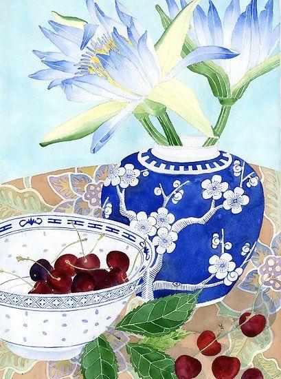"""Waterlilies, Ginger Jar and Cherries"", by Gabby Malpas."