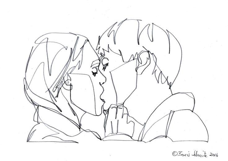 """Kiss 53″, continuous line drawing by Boris Schmitz – cs glomb"