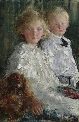 Retrato de Elizabeth así como Charles Williamson con su perro - Antonio Mancini - Roma, 14 de noviembre de 1852 - Ib., 28 de diciembre de 1930) fue un pintor italiano. Período: