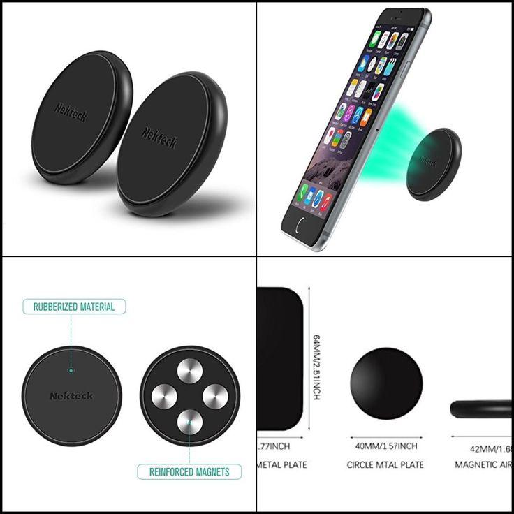x2 Nekteck Flat Stick On Dashboard Magnetic Smartphones & Key Car Mount Holder #Nekteck