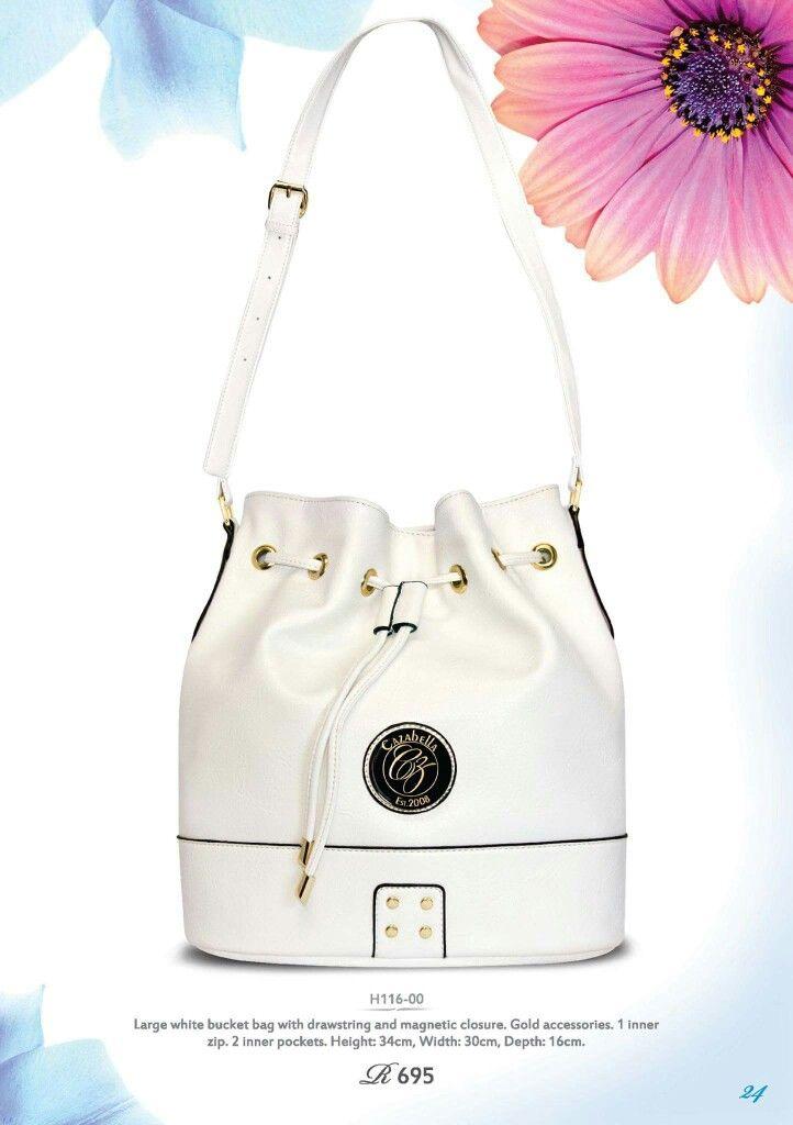 Large white bucket handbag with drawstring. H116-00 @ R695    #handbag #socialenvy #fashion #cazabella #trendy #instabag #baggram #fashionista ronel.cazabella@yahoo.com