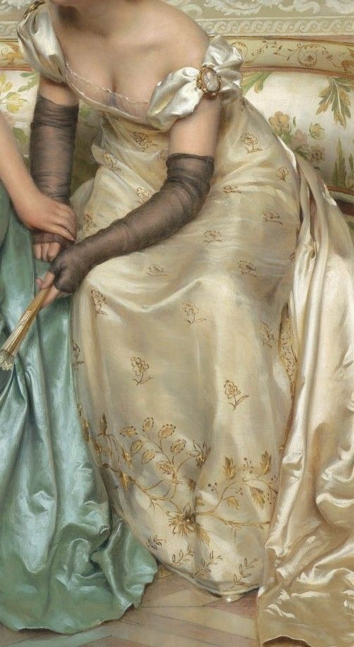 The colors, textures, and details are gorgeous. The skin looks amazingly real, and the fabrics have realistic texture. Wow! | Detail of Secrets, by Charles Joseph Frédéric Soulacroix (French, 1858-1933)