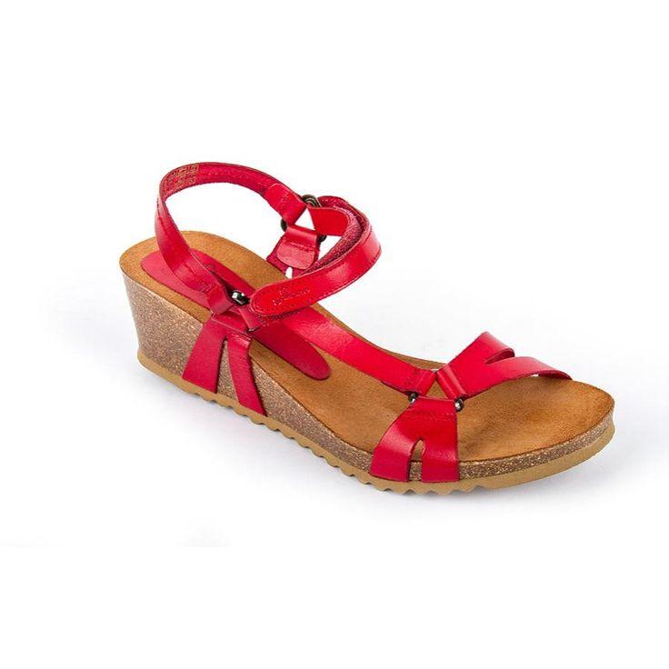 16Cadiz022Rojo - Sandal bio Cadiz 022 Red Leather