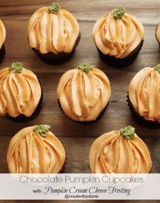 Pumpkin Chocolate Cupcakes with Pumpkin Cream Cheese Frosting @createdbydiane