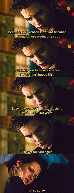 Edward to Bella. In my personal opinion if it were me I'd make him apologise for another two months before forgiving him
