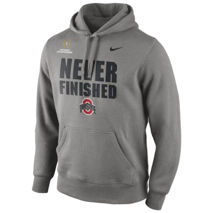 """Ohio State Buckeyes Nike 2015 College Football Playoff National Championship Bound """"Never Finished"""" Hoodie - Gray"""