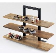 3 Tier Frame Riser Item: 1464-13 Spice up your food presentation with these three tier frame risers that holds up to three shelves that display your delicious appetizers or mouth-watering desserts at your restaurant, hotel, buffet, or food service event!