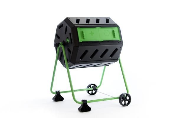HOT FROG Mobile Dual Chamber Tumbling Composter with Wheel Kit   FCMP Outdoor