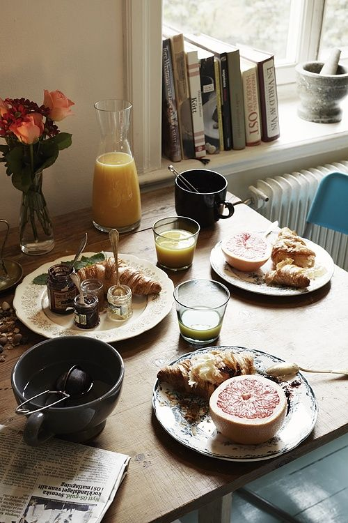 Simple breakfast at home with pastries, grapefruit, orange juice and of course, coffee. #TOMSRoastingCo