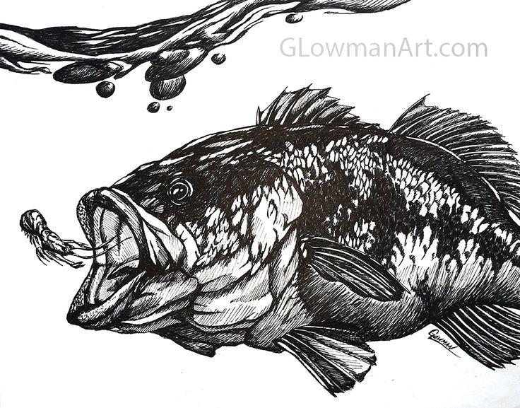 largemouth bass drawing freaking awesome httpglowmanart