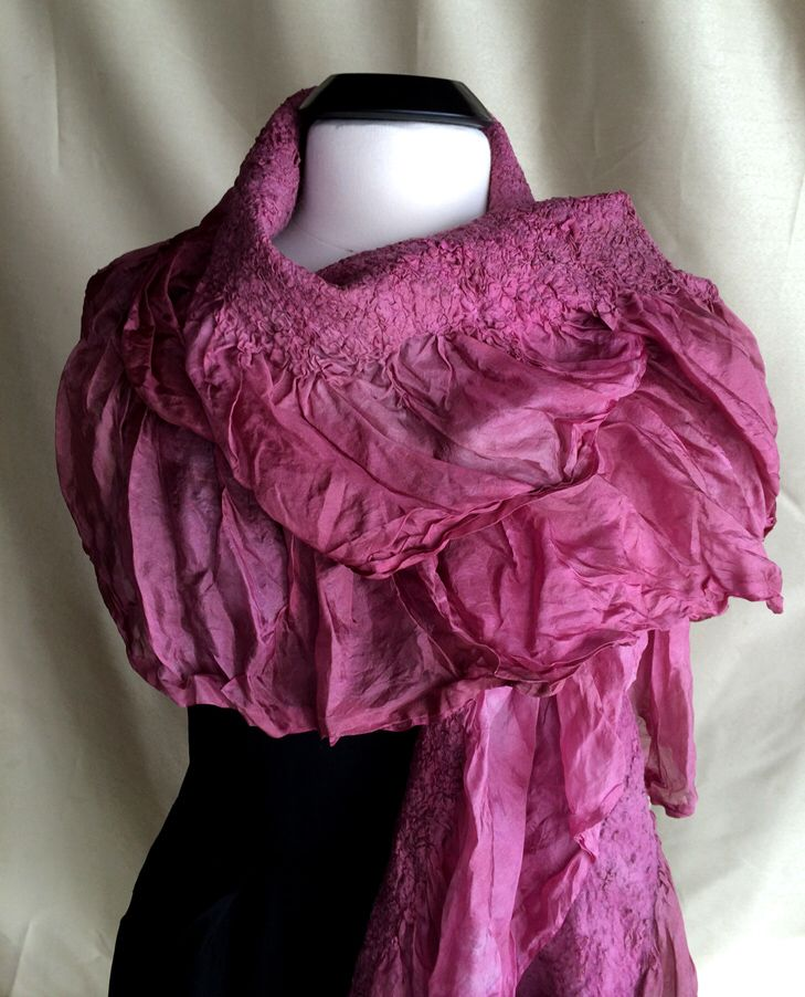 Raspberry Nuno Felted Silk Shawl