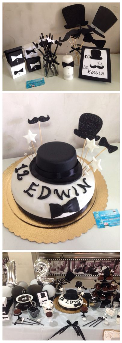Black and white party, mustache, bowler hat, papillon ideas- Idee compleanno bianco e nero, baffi, bombetta , papillon