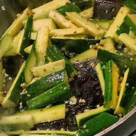 Zucchini sautéed in olive oil, garlic and red pepper flakes. Made this for dinner while doing the 21 Day Fix.  http://saundersa.automaticceo.com/go7