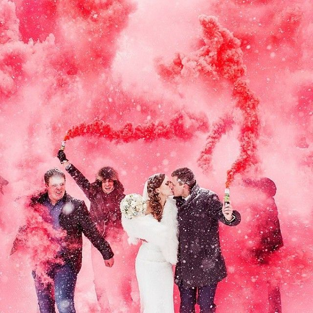 These Colorful Smoke Bomb Weddings Are The Hottest Way To Tie The Knot.