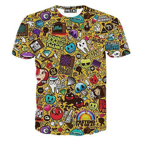 FaPlus Men's Fashion Cartoon Print 3D Short Sleeve T-Shirts S