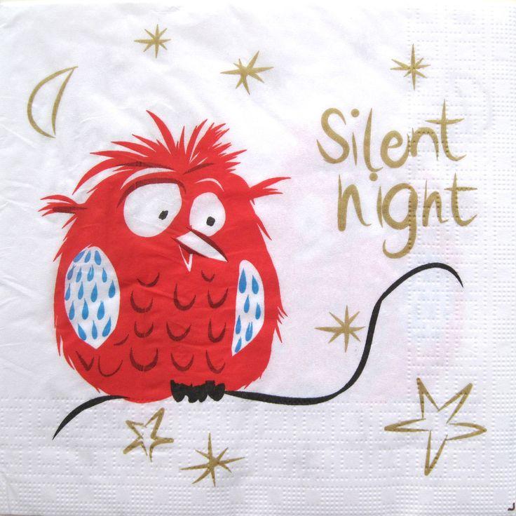 Decoupage paper napkins, Silent night, Christmas napkins, Set of 3 paper napkins, size 33x33cm (no.106) by ArsaiSupplies on Etsy