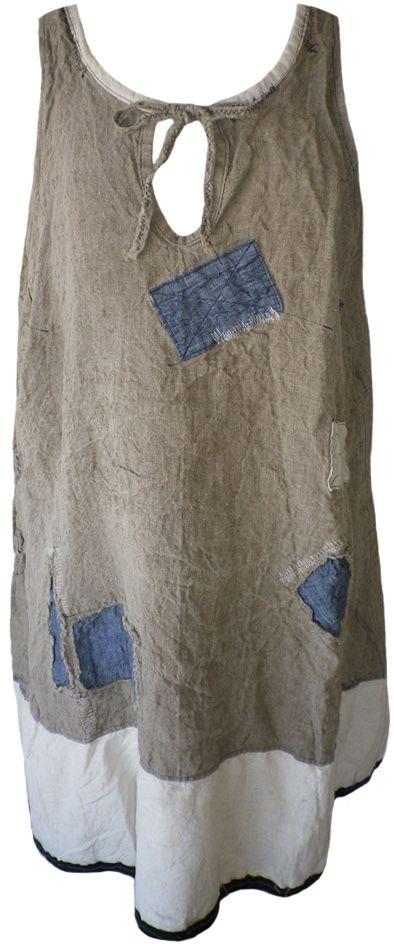 Magnolia Pearl: Flax homespun linen Corin Artist Smock Tank Dress