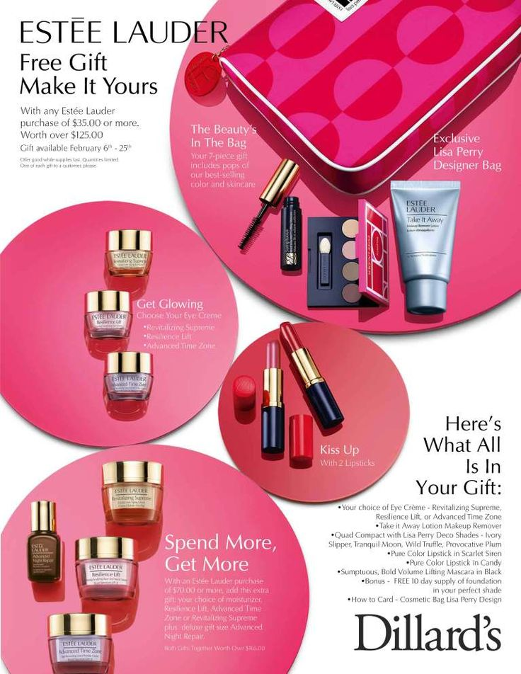 Dillard's Estee Lauder Gift with Purchase. | Ads | Pinterest | Regali