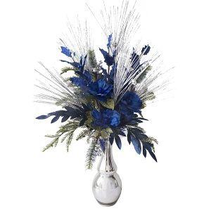 Bouquet hivernal bleu et argent 45 x 32 x 15''