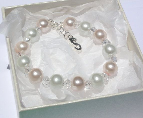 Personalized Letter Bracelet Flower Girl by Stunning Gems Jewelry Pink Wedding jewelry Wedding Jewelry Bridesmaid Jewelry Flower Girl Jewelry Bridesmaid Jewelry Gift Flower Girl Jewelry Gift Initial Bracelet