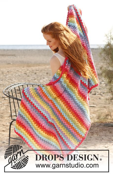 "Crochet DROPS blanket with dc-groups in ""Paris"". ~ DROPS Design"