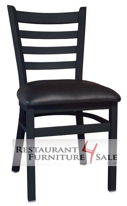 GLADIATOR Ladder Back 16-Gauge Steel Restaurant Chair with Black Vinyl Seat and Extra Front Brace