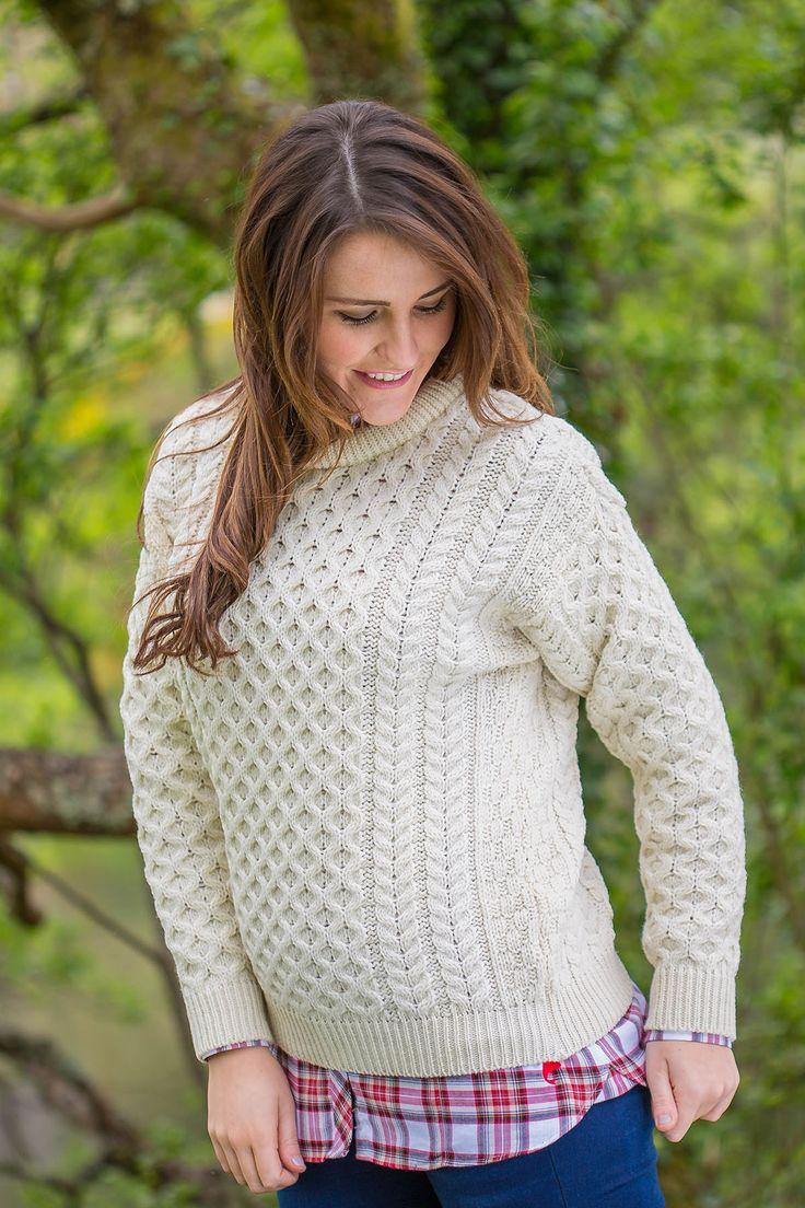 Aran Wool Sweater Ladies - Natural (C1949)  #flannelnightgowns #grandfathershirt #aranjumpers #granddadshirt #irishflannel #shopirish #flannelshirts #leevalleyireland #collarless #irishshirts