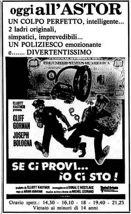 """""""Se ci provi... io ci sto!"""" (Cops and Robbers, 1973) di Aram Avakian, con Cliff Gorman e Joseph Bologna. Italian release: December 11, 1973 #MoviePosters #DonaldEWestlake"""