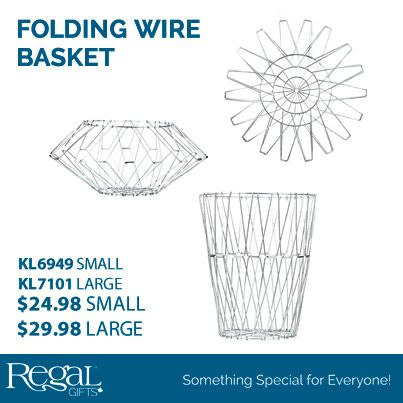 """NEW! Folding Wire Basket From Regal Gifts - Galvanized stainless steel wire basket can be used as a basket, plate, fruit bowl and much more. Collapse and adjust to the shape your want. Comes with inspiration guide. Small 7-1/2""""H x 6-1/2""""Diam. as a tall basket. Large: 12""""H x 9-1/2""""Diam. as a tall basket. www.davesgift.shopregal.ca"""