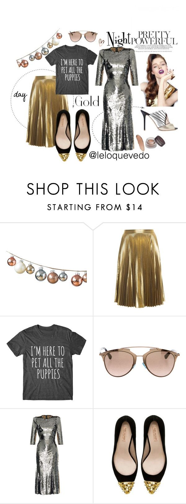 """Golden outfit"" by leloquevedo on Polyvore featuring moda, A.L.C., Christian Dior, Dolce&Gabbana, Zara y Malone Souliers"