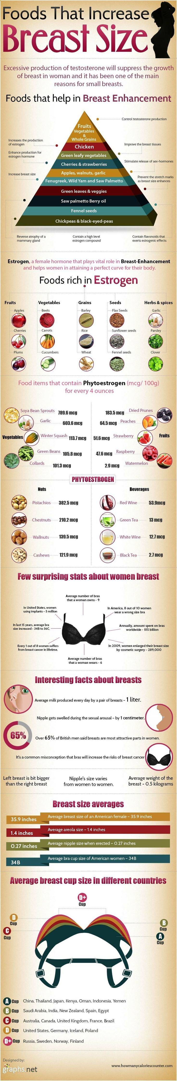 Women who are wishing for a more curvy body shape with enhanced bust could try the natural way before visiting the plastic man. This graph presents how females can gain a better control of estrogen and testosterone and achieve breast enhancement by fine tuning their nutrition habits.