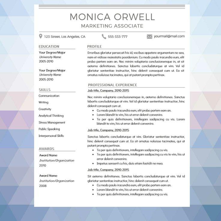 "Professional & Modern Resume Template ""Monica"" Modern"
