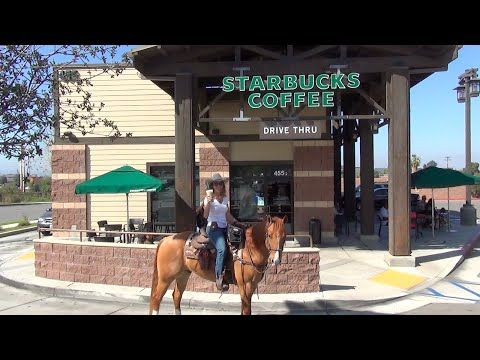 Starbucks Pony Espresso: Riding My Horse Thru the Drive Thru - YouTube - Published on Feb 19, 2015 In Norco, California we found horse trails that lead us right up to the drive thru! Norco is considered 'Horse Town USA' and horses are given a wide range of privileges that other cities may not allow. Many of the shops have pens, like the one shown in the video, to tie your horse...but we opted for the 'ride-thru' instead.