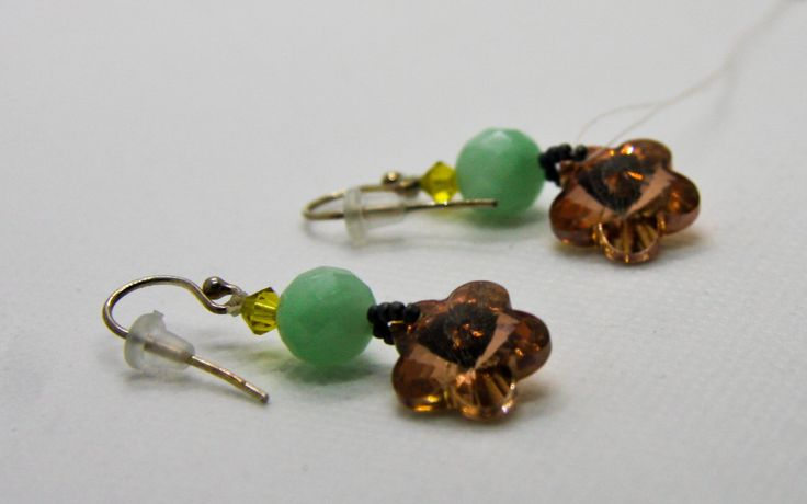 Small Swarovski Crystal & Amazonite Earrings by Tiffydesigns on Etsy